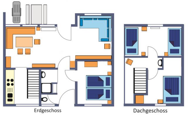 Grundriss, Wohnfläche ca. 68m², Terasse ca. 16m²
