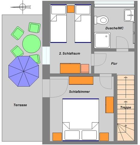 Grundriss obere Etage Ferienwohnung 4 Personen
