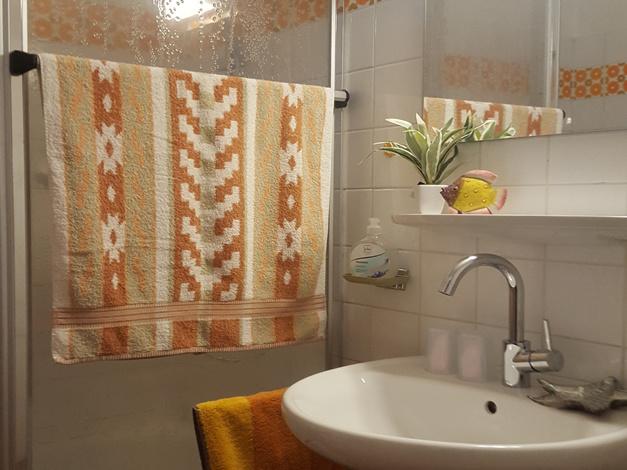 Bad mit Dusche, Waschbecken, WC, Schrank und Föhn
