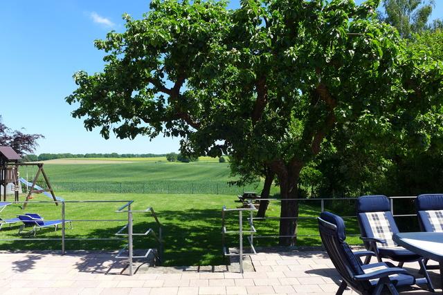 Blick von der Terrasse auf den eingezäunten Garten