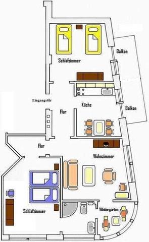 Grundriss der Wohnung Sonnenschein ab 65 €/Tag