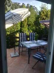 Ferienwohnung Harz Moni Werner Blick aus dem Wohnzimmer zur Terrasse