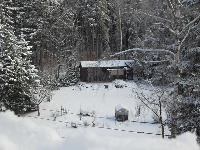 Blick zum winterlichen Haus Scharfenstein