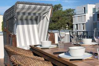 Strandkorb Villa Sofie Terrasse mit Strandkorb