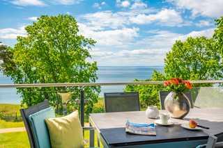 Appartement Aquamarin mit Penthouseflair - Oase am Haff Sonnenterrasse mit Meerblick
