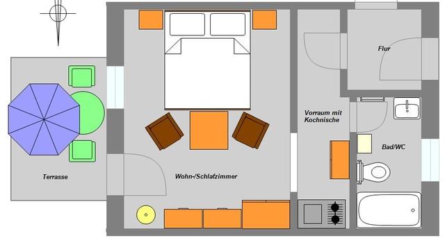 Grundriss Ferienwohnung/Terrasse für 2 Personen