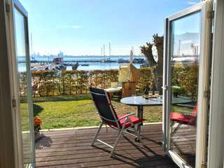 Ferienwohnung Panoramablick Panoramablick auf den Hafen sowie Stralsund