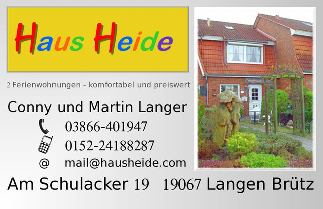 Visitenkarte; Homepage: hausheide.com