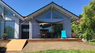 Ferienhaus Frieda Blick auf die Hausterrasse