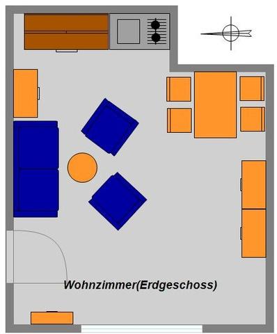 Grundriss untere Etage Ferienwohnung 4 Personen