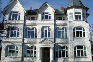 Villa Germania mit Balkon Fewo Büge Ahlbeck Südseite Von der Promenade
