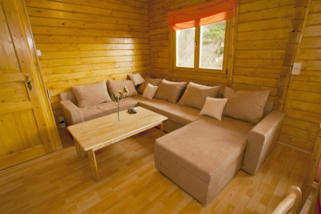 Wohnzimmer mit Blick auf den Speckstein-Kaminofen