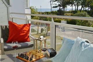 Strandwohnung Wassermusik gemütlicher Balkon mit Aussicht